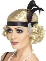 Hoofdband zwart met veren | Black Satin Charleston Headband