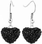 Fako Bijoux® - Oorbellen - Disco Dots - Hanger - Hart - Zwart
