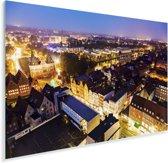 Verlichting in de avond in het Duitse Lübeck Plexiglas 90x60 cm - Foto print op Glas (Plexiglas wanddecoratie)
