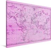 Wereldkaart met een roze vloed Canvas 60x40 cm - Foto print op Canvas schilderij (Wanddecoratie woonkamer / slaapkamer)