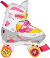 Nijdam Junior Rolschaatsen Meisjes Verstelbaar Semi-Softboot - Rave Skate - Fluorroze/Fluorgeel/Wit/Grijs/Antraciet - 34-37