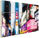 Neon lichten Times Square Hout 120x80 cm - Foto print op Hout (Wanddecoratie)
