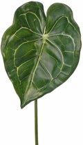 Kunst Anthurium bladgroen tak 67 cm - kunstbloem/ tak