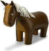 Zuny boekensteun paard bruin