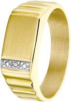 Lucardi - Diamond Luxury - 14karaat geelgouden herenring met diamant 0,01 crt