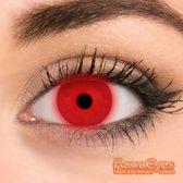 KawaEyes Fluo Red partylenzen - incl. lenzendoosje - kleurlenzen - crazy lenzen - jaarlenzen - fluoriserend rood - feest - Halloween