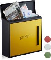 relaxdays brievenbus modern, twee kleurig design, A4-formaat, wandbrievenbus zwart-geel