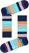 Happy Socks Stripe Sokken - Grijs/Blauw/Oranje - Maat 36-40