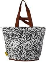 Mycha Ibiza – leopard tas - shopper - Strandtas - tas met rits -grijs