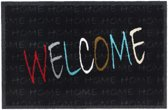 Schoonloopmat Impression Welcome multi zwart 40 x 60 cm