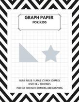 Graph Paper for Kids 1/2 Inch Squares: Large 1/2 Inch Squares Perfect For Math Drawing and Graphing double-sided Graph Paper Composition Notebook for