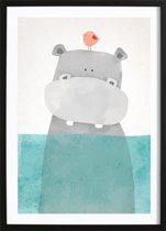 Nijlpaardje Poster (29,7x42cm) - Kinderen - Poster - Print - Kinderkamer - Wallified