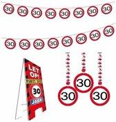 30 jaar verkeersbord versiering set extra - 30ste verjaardag versiering