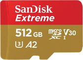 SanDisk Extreme MicroSDXC 512GB - U3 V30 A2 - 160MB/s  - met adapter
