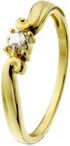 Lucardi 14 Karaat Gouden Ring - Met Diamant - Maat 58