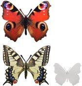 Vlinder muurdecoratie - set van 4 stuks
