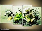 Acryl Schilderij Bloemen   Groen   130x70cm 5Luik Handgeschilderd