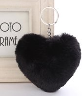 Sleutelhanger Pompom - Hartje - Pluizig & zacht - Zwart - Fleur je sleutelbos of tas op!