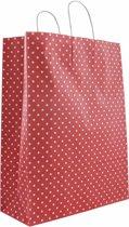 50x papieren tassen rood met witte stippen  32x12x40cm