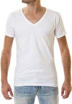 Duurzaam t-shirt heren Deep V-neck 2 pack - wit