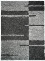 NORA Shaggy-tapijt - 160 x 230 cm - houtskoolgrijs met strepen