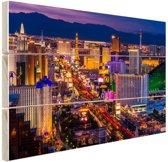 Las Vegas by night Hout 80x60 cm - Foto print op Hout (Wanddecoratie)