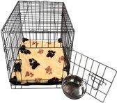 Topmast Hondenbench Bench Small Zwart + Luxe Teddybont benchkussen Beige voetprint 61 * 42 *49 cm