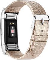 123Watches.nl Fitbit charge 2 basic leren band - goud -
