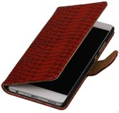 Rood Slang booktype wallet cover hoesje voor Huawei P9 Plus