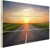 Zonsopkomst boven de weg Hout 120x80 cm - Foto print op Hout (Wanddecoratie)