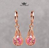 Victoria - Rose goudkleurige Oorbellen - Oostenrijks Bergkristal Roze