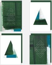 Zeer mooie kerstkaarten - set van 4 stuks - kaart voor kerst en nieuwjaar - zonder tekst, universeel