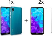 Huawei Y5 (2019) Hoesje Transparant - Siliconen Case - 2 x Tempered Glass Screenprotector - LuxeRoyal
