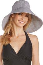 Coolibar - UV-hoed voor dames - Zwart-wit gestreept