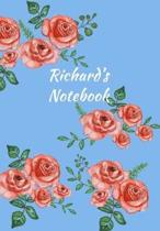 Richard's Notebook: Personalized Journal - Garden Flowers Pattern. Red Rose Blooms on Baby Blue Cover. Dot Grid Notebook for Notes, Journa