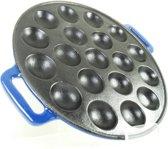 Relance Poffertjesplaat - 19 Poffertjes - Gietijzer - blauw