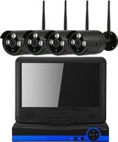 CCTV WIFI Beveiligingscamera set 4 camera's draadloos + Monitor