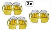 3x Bril Bier glazen