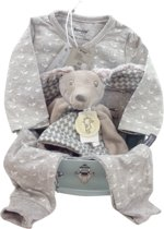Babycompany.nl cadeau koffertje met Snoozebaby pyjama en Happy Horse knuffeltje teckel Dex grijs. Pyjama birds wit grijs