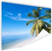 Palmbomenfoto strand Poster 120x80 cm - Foto print op Poster (wanddecoratie woonkamer / slaapkamer) / Zee en Strand
