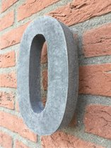 betonnen huisnummer, hoogte 20cm, huisnummer beton nr. 0