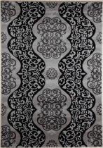 Elegante Karpet met Excentriek Motieven - 80X150cm - Grijs Zwart