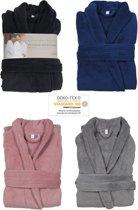 Luxe badjas - maat L / XL  - microfiber - MICRO FLEECE - badjas - bad jas - ochtendjas – donker grijs