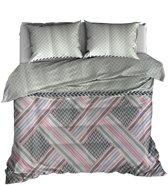 Roomture dekbedovertrek - eenpersoons - 140x200/220 - leaf - grijs