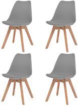 Eettafel stoelen Grijs 4 STUKS Kunstleer / Eetkamer stoelen / Extra stoelen voor huiskamer / Bezoekersstoelen