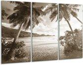 Glas schilderij Zee, Strand   Sepia   120x80cm 3Luik   Foto print op Glas    F006473