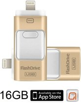 DrPhone Flashdrive 16 GB USB Stick iPhone / iPad / Samsung USB Stick - Micro USB Naar USB Type A - Geheugenstick Data Transfer -  Geschikt voor Android  / Apple  / Mac / Windows - Overzetten bestanden - Plug & Play + Extra Opslag - Goud