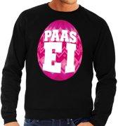 Paas sweater zwart met roze ei voor heren 2XL