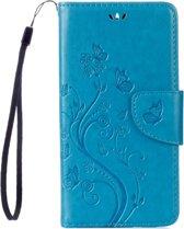Voor Asus Zenfone 3 Max ? / ZC520TL Vlinders liefde Bloemens Embossing horizontaal spiegelen lederen hoesje met houder & opbergruimte voor pinpassen & portemonnee & Lanyard(blauw)