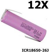 12 Stuks - Z-Soldeerlippen - 18650 Samsung ICR18650-26J 5.2A